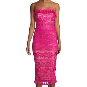 Tadashi Shoji Pink Strapless Tassel Cocktail Dress